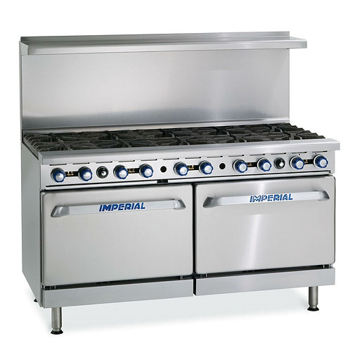 "Imperial IR-10 60"" 10 Burner Gas Range w/ (2) Standard Ovens NG"