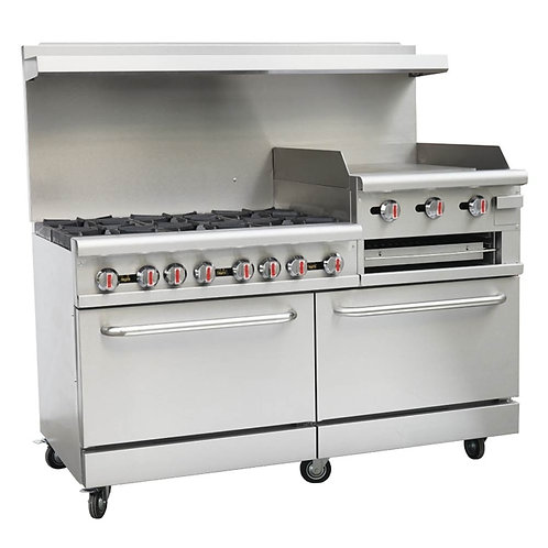 "New Cookline CR60-24RG (6) Burner Range 24"" Raised Griddle 2 Standard Ovens NG"