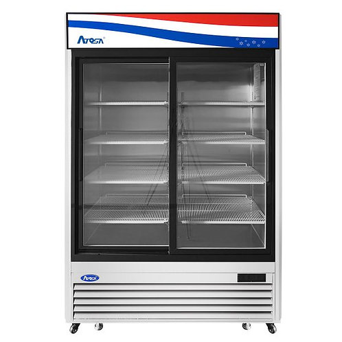 New Atosa MCF8707GR Bottom Mount (2) Upright Glass Door Refrigerator