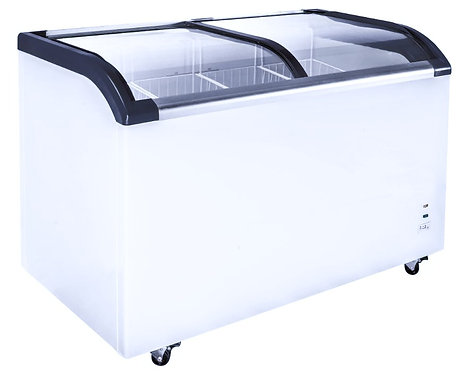 "New Genkraft GDQ-600L (69"") Curved Glass Sliding Top Chest Freezer 19.25 Cu. Ft."
