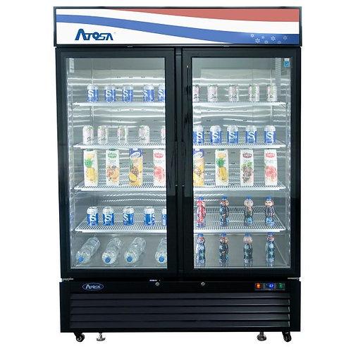 New Atosa MCF8723GR Bottom Mount (2) Glass Door Refrigerator 43.95 Cuft