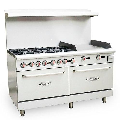 """New Cookline CR60-24G (6) Burner Range 24"""" Flat Griddle 2 Standard Ovens NG"""