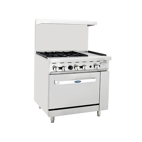 """New CookRite ATO-4B12G (4) Burner Range Left 12"""" Griddle With Standard Oven NG"""