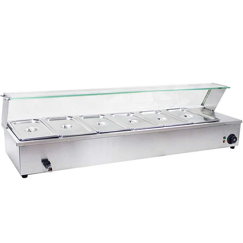 New Prepline BM6 48″ Countertop Steam Table 6-Pan Bain Marie Food Warmer 110v