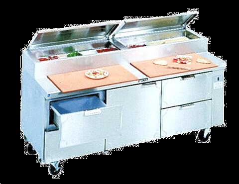 """New LaRosa 72"""" Refrigerated Pizza Prep Table Remote - L-15172-28"""