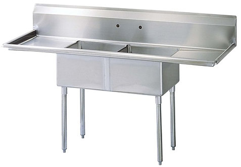 "New Prepline XS2C-1416-LR (14"" X 16"") S/S 2 Compartment Sink Two Drainboard NSF"
