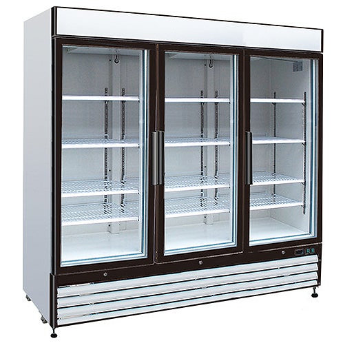 "New Kratos Refrigeration 69K-827 Swing Glass 3 Door Freezer 81""W, 72 Cu. Ft"