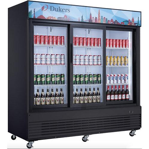 "New Dukers DSM-68SR-B 78"" Three Sliding Glass Door Refrigerator"