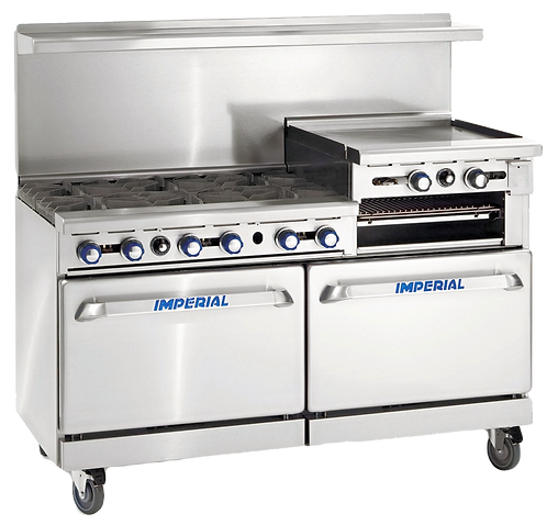 """New Imperial IR-6-RG24-CC 60"""" Gas Range, (2) Convection Ovens, Cheese Melter"""
