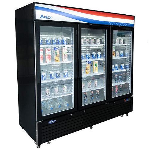New Atosa MCF8724GR Bottom Mount (3) Glass Door Refrigerator 69.54 Cuft