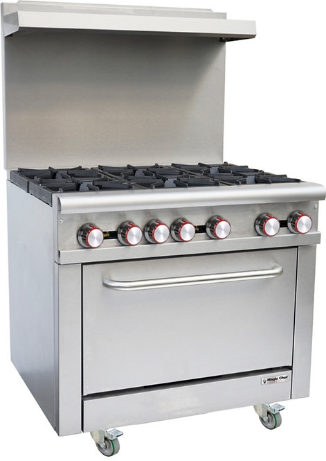 New Magic Chef M36GR Medium Duty (6) Burner Range With Standard Oven NG
