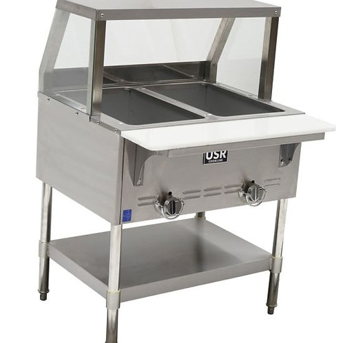 """New Cookline GTS2 (31"""") 2 Wells Steam Table With Sneeze Guard Natural Gas"""