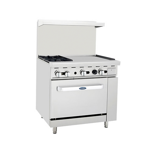 "New CookRite ATO-2B24G (2) Burner Range With Right 24"" Griddle Standard Oven NG"