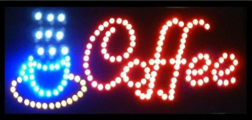 New Coffee LED Neon Business Motion Light Sign with Chain, S30