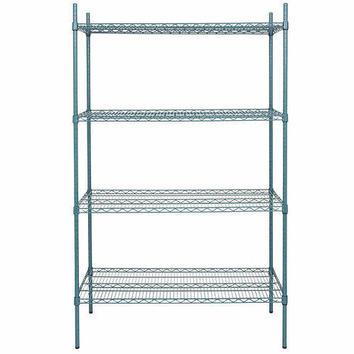 "New Winco VEXS-1848 (18"" x 48"") Green Epoxy Wire Shelving Set"