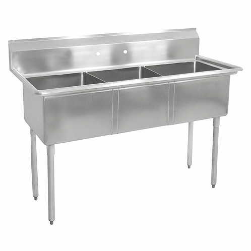 "New Prepline XS3C-1818 (18"" X 18"" X 11"") Stainless Steel 3 Compartment Sink NSF"