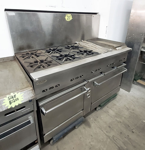 """Mint Condition Jade 6 burner Range With 24"""" Chargriddle NG"""
