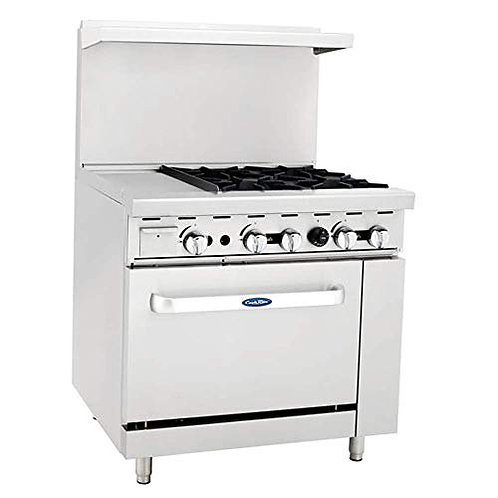 """New CookRite ATO-12G4B (4) Burner Range Right 12"""" Griddle With Standard Oven NG"""