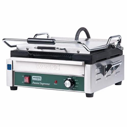 New Waring WPG250 Single Commercial Panini Press Cast Iron Grooved Plates 120V