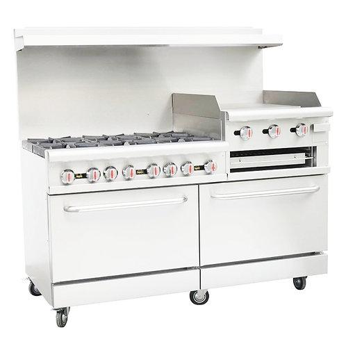 """New Cookline CR60-24RG (6) Burner Range 24"""" Raised Griddle 2 Standard Ovens NG"""