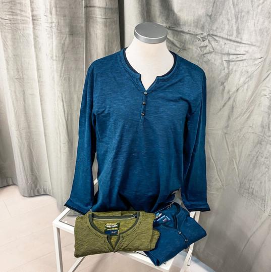 Langarmshirt, Ray blau & grün