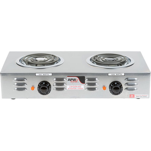 New APW Wyott CP-2A Workline Double Open Burner Portable Electric Hot Plate 120V