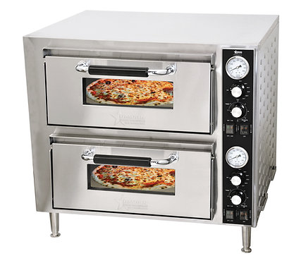 """New Omcan PE-CN-3200-D (18"""") Double Deck Countertop Pizza Oven - 240V, 3200W"""