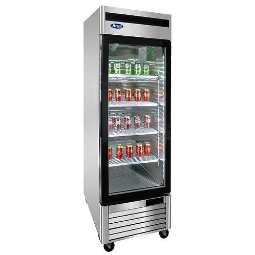 New Atosa MCF8705GR Mount (1) Glass Door Upright Refrigerator  S/S