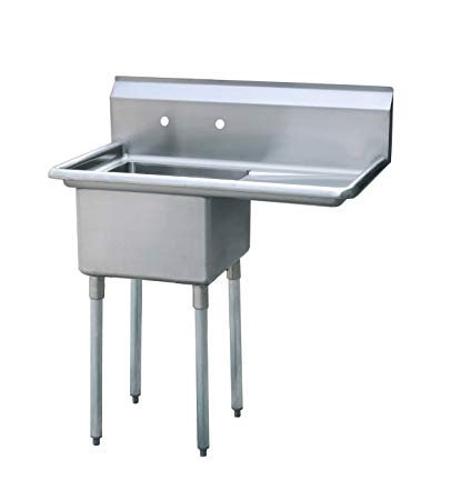 "New Stainless Steel Sink 18"" X 18"" Single Compartment Sink Right Drain"