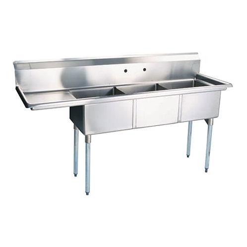 "New Prepline XS3C-1818-L (18"" X 18"") S/S 3 Compartment Sink Left Drainboard NSF"
