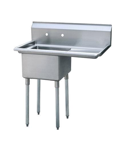 """New PrepPal MRSA-1-R (18"""" x 18"""" x 12"""") S/S 1 Compartment Sink Right Drainboard"""