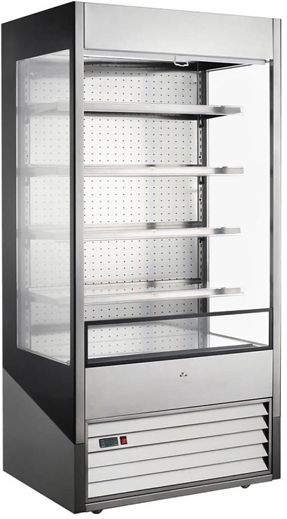 """New Marchia MDS40G 40"""" Open Air Cooler Grab and Go Refrigerator with Glass Sides"""