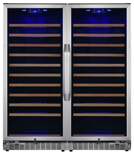 """New EdgeStar CWR1212SZDUAL 48""""W 222 Bottle Capacity Built-In or, Stainless Steel"""