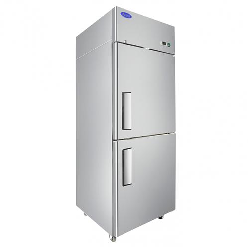 New Atosa MBF8007GR Upright Freezer Top Mount (2) Half Door Freezer Right Hinge