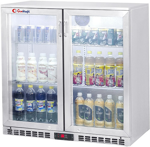 "New Genkraft GBB-230 (36"") Back Bar Cooler Hinged Doors In Stainless Steel"
