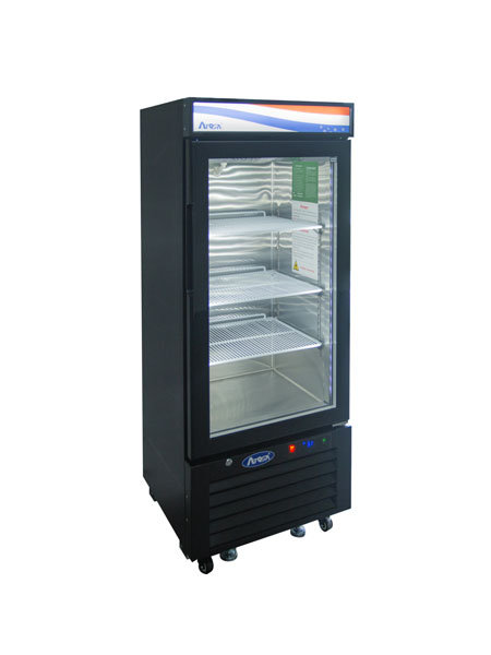 New Atosa MCF8726GR Bottom Mount (1) One Glass Door Refrigerator 8.3 Cuft Black