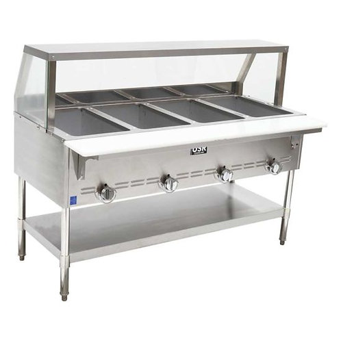 "New Cookline GTS4 (59"") 4 Wells Steam Table With Sneeze Guard Natural Gas"