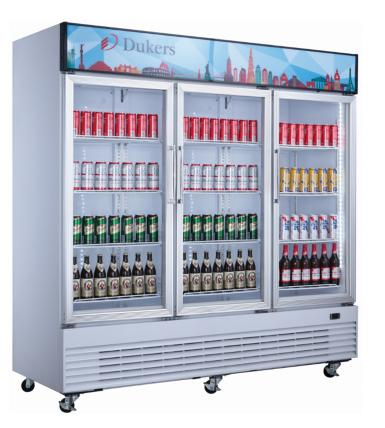 "New Dukers DSM-68SR-W 78"" Three Sliding Glass Door Refrigerator"