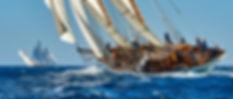 Sailing ship race. Classic yacht under f
