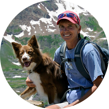PSFD Founder Liz Blasio and her dog adventure in the mountains.