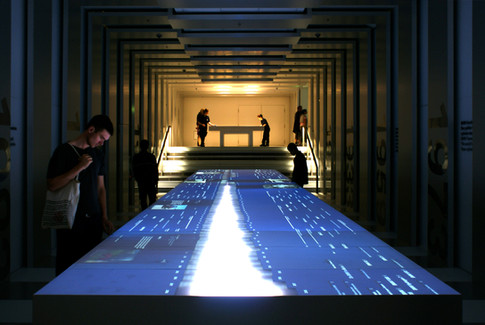 An Interactive touch screen surface made by projecting lasers at BMW museum in Munich, Germany.