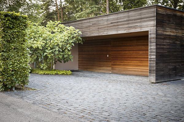 Fancy wooden garage