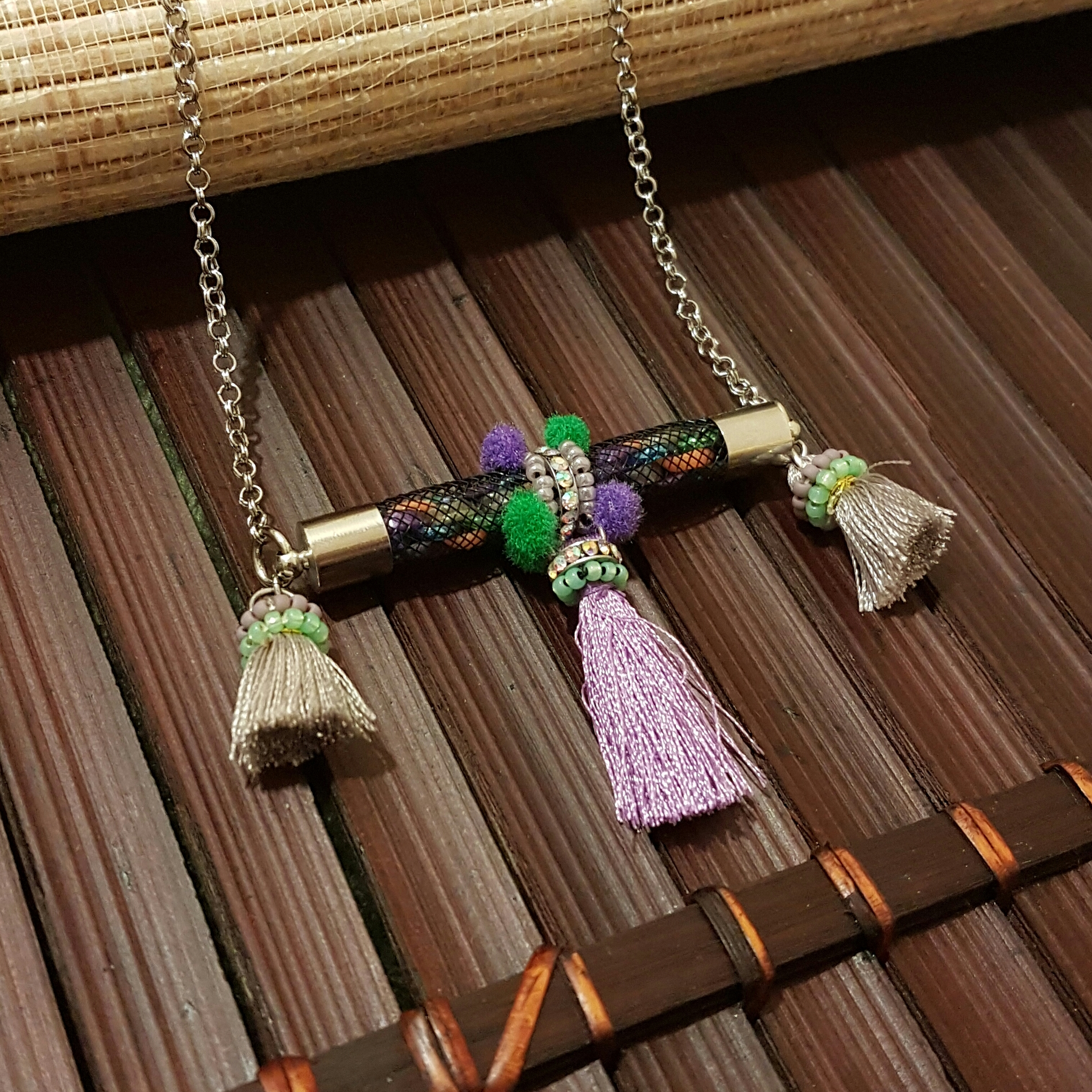   ART001  Lilac SIiver Necklace