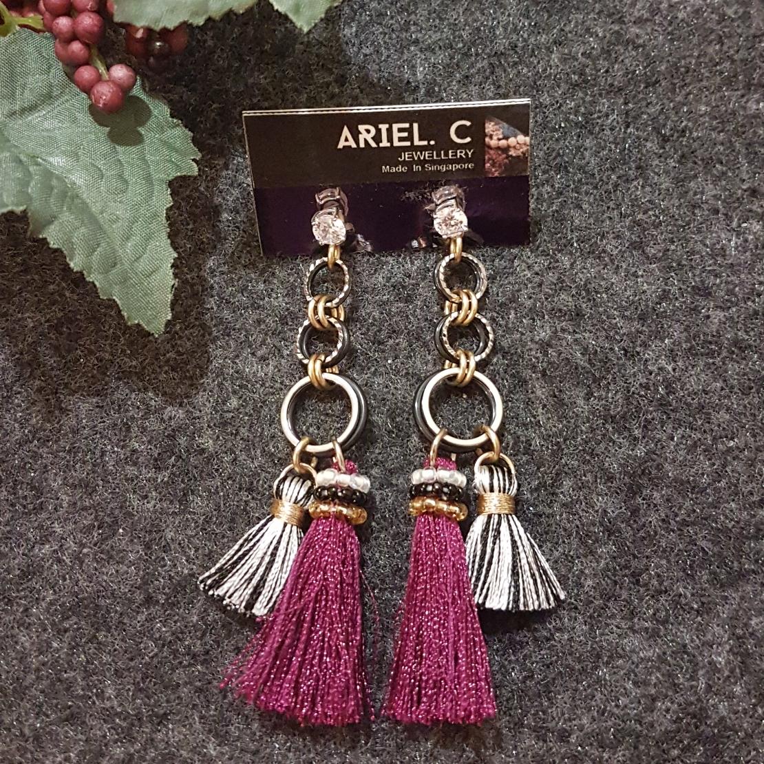 | ARB019 | Maroon High Low Earrings