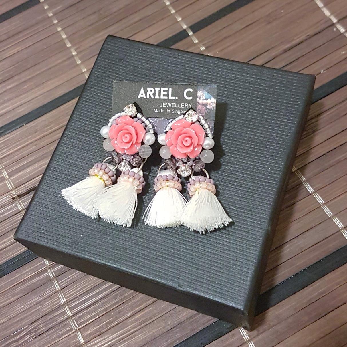   ART024   Blush Rosette Earrings