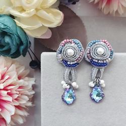 | AROF21| 银- Silvery Rosette Earrings