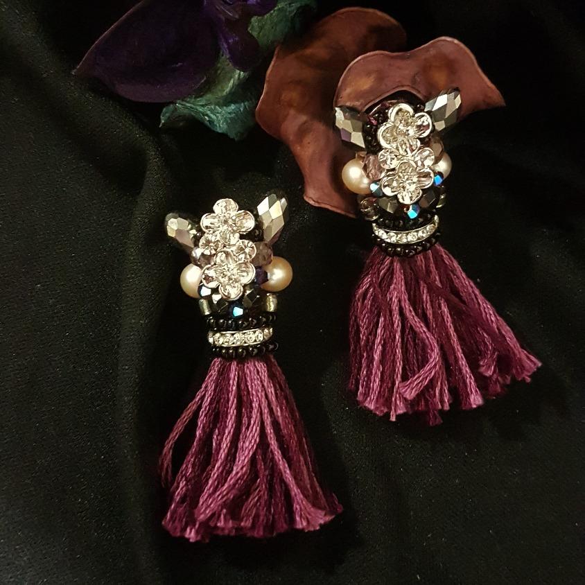 Long purple tone tassel earring