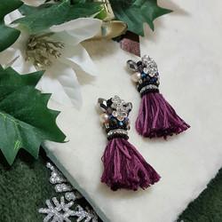 | ARF020 | Long Yarn Tassel Earrings