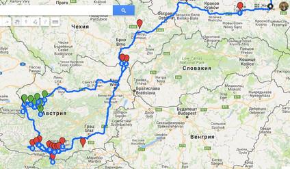 Австрия. Маршрут  поездки в июле-августе  2018.
