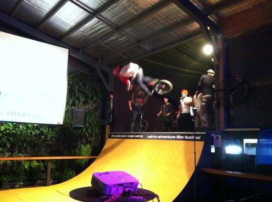 Halfpipe ramp in a pub